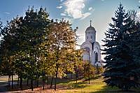 Поклонная гора осенью. Москва, Россия.