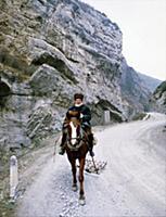 Мужчина на лошади. В горах Чечни и Ингушетии. СССР