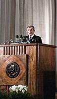 На трибуне секретарь ЦК КПСС Зимянин М.И.  Торжест